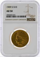 1909-S $10 Indian Head Eagle Gold Coin NGC AU50