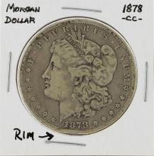 1878-CC $1 Morgan Silver Dollar Coin Details Rim Ding