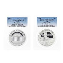 Set of (2) 2015 $2 Niue Jefferson & Lincoln Memorial Silver Proof Coins PCGS PR7