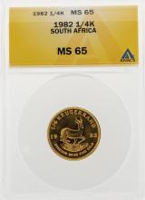 1982 1/4 oz South Africa Krugerrand Gold Coin ANACS MS65