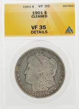 1901 $1 Morgan Silver Dollar Coin Cleaned ANACS VF35 Details