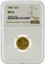 1906 $2 1/2 Liberty Head Quarter Eagle Gold Coin NGC MS61