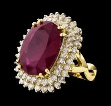 14KT Yellow Gold 13.45ct Ruby and Diamond Ring