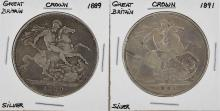 1889 and 1891 Great Britain Crown Silver Coins