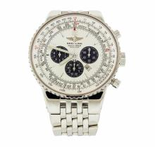 Men's Breitling Navitimer Heritage Stainless Steel Wristwatch with Silver Dial