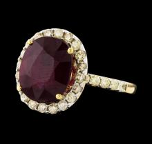 14KT Yellow Gold 8.53ct Ruby and Diamond Ring