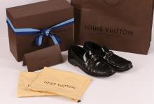 Authentic Louis Vuitton Mens Black Leather Dress Shoes