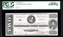 1864 $2 The Confederate States of America Note PCGS Choice New 63PPQ