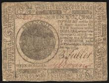November 29, 1775 $7 Spanish Milled Continental Currency Note