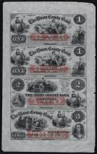 1859 $1-$1-$2-$3 Uncut Sheet of The Union County Bank NJ Obsolete Notes