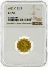 1852-O $2 1/2 Liberty Head Quarter Eagle Gold Coin NGC AU55