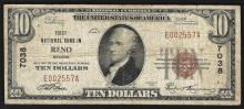 1929 $10 Reno Nevada National Currency Bank Note CH# 7038