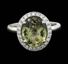 14KT White Gold 3.00ct Green Tourmaline and Diamond Ring
