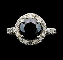 14KT White Gold 5.31ctw Black Diamond Ring