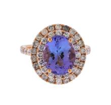 14KT Rose Gold 3.75ct Tanzanite and Diamond Ring
