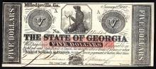 1862 $5 The State of Georgia Obsolete Bank Note