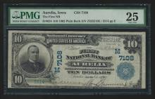 1902 $10 PB First National Bank of Aurelia Iowa National Currency Note PMG VF25
