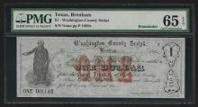 1860s $1 Washington County Script Texas Obsolete Note PMG Gem Uncirculated 65EPQ