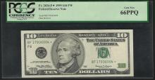 1999 $10 Federal Reserve Note STAR PCGS Gem New 66PPQ