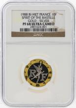 1988 Bi-Met France 10F Gold-Silver Coin NGC PF68 Ultra Cameo