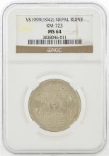 1942 Nepal Silver Rupee Coin NGC MS64