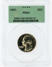 1951 Washington Proof Quarter Coin PCGS PR64