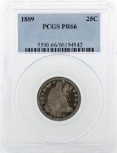 1886 Liberty Quarter Dollar Coin PCGS PR66