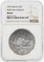 1972 Malta 2 Pounds Fort San Angelo Silver Coin NGC MS66