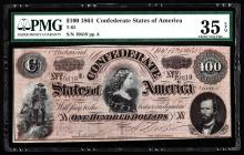 1864 $100 The Confederate States of America Note PMG Choice VF 35EPQ