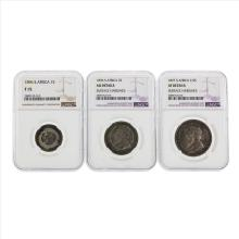 1896-1897 South Africa 1/2/2.5 Shillings Coins NGC Graded