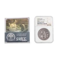 2016 $10 Cook Islands Norse Gods Frigg Silver Coin NGC MS70 Antiqued