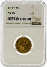 1914-S $5 Indian Head Half Eagle Gold Coin NGC AU55