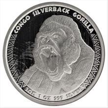 2015 1 oz Congo Silver Silverback Gorilla Coin