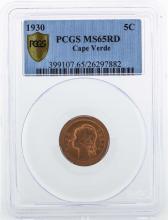 1930 Cape Verde 5 Centavos Coin PCGS MS65RD