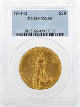 1914-D $20 St. Gaudens Double Eagle Gold Coin PCGS MS65