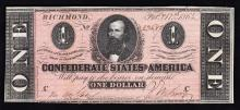 1864 $1 The Confederate States of America Note