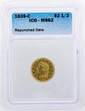1839-C $2 1/2 Classic Head Quarter Eagle Gold Coin ICG MS62