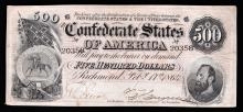 1864 $500 The Confederate States of America Note