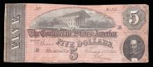 1864 $5 The Confederate States of America Note