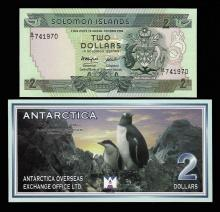 Lot of (2) Assorted Solomon Islands and Antarctica Notes