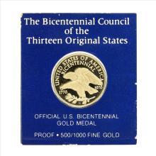 1976 Official U.S. Bicentennial Gold Medal Franklin Mint