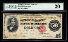 1882 $50 Large Size Gold Certificate Note PMG VF20
