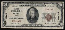 1929 $20 The First National Bank of Traer Iowa Currency Note
