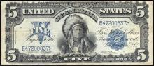 1899 $5 Indian Chief Silver Certificate Bank Note