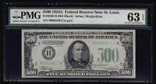 1934A $500 Federal Reserve Note St. Louis PMG Choice Uncirculated 63EPQ