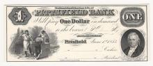 1853 $1 Pittsfield Bank Proof Obsolete Note