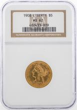 1908 $5 Liberty Head Half Eagle Gold Coin NGC MS62