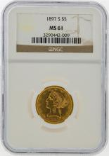 1897-S $5 Liberty Head Half Eagle Gold Coin NGC MS61