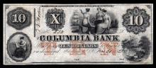 1852 $10 Columbia Bank Obsolete Bank Note