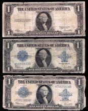 Lot of (3) 1923 $1 Silver Certificate Notes